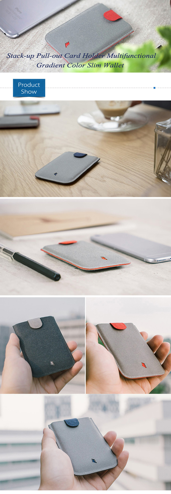 Stack-up Pull-out Card Holder Multifunctional Gradient Color Slim Wallet