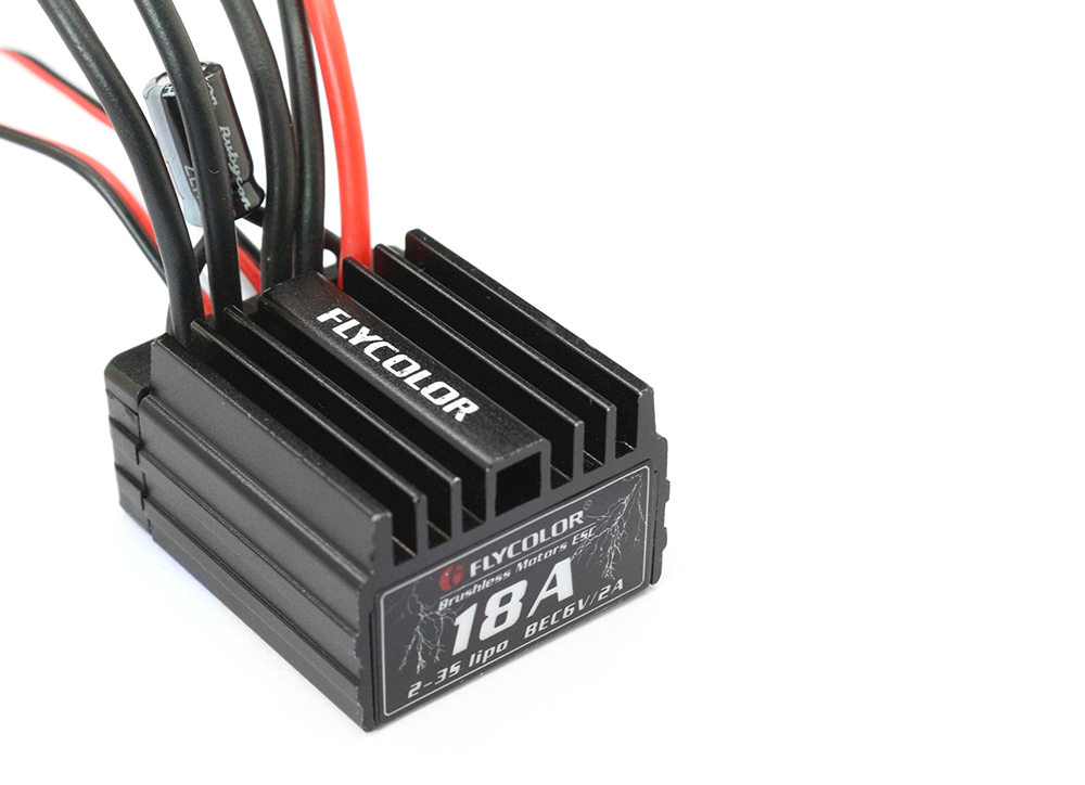 Flycolor 18A 2 - 3S Brushless ESC Accessory for 1/16 1/18 RC Car