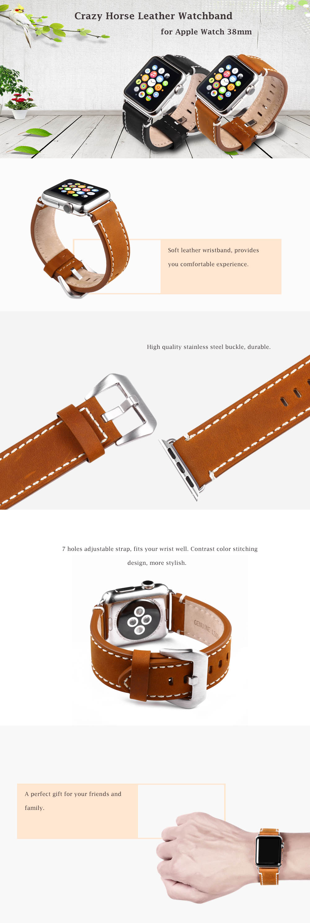 Crazy Horse Genuine Leather Wristband Replacement Watchband for Apple Watch 38mm