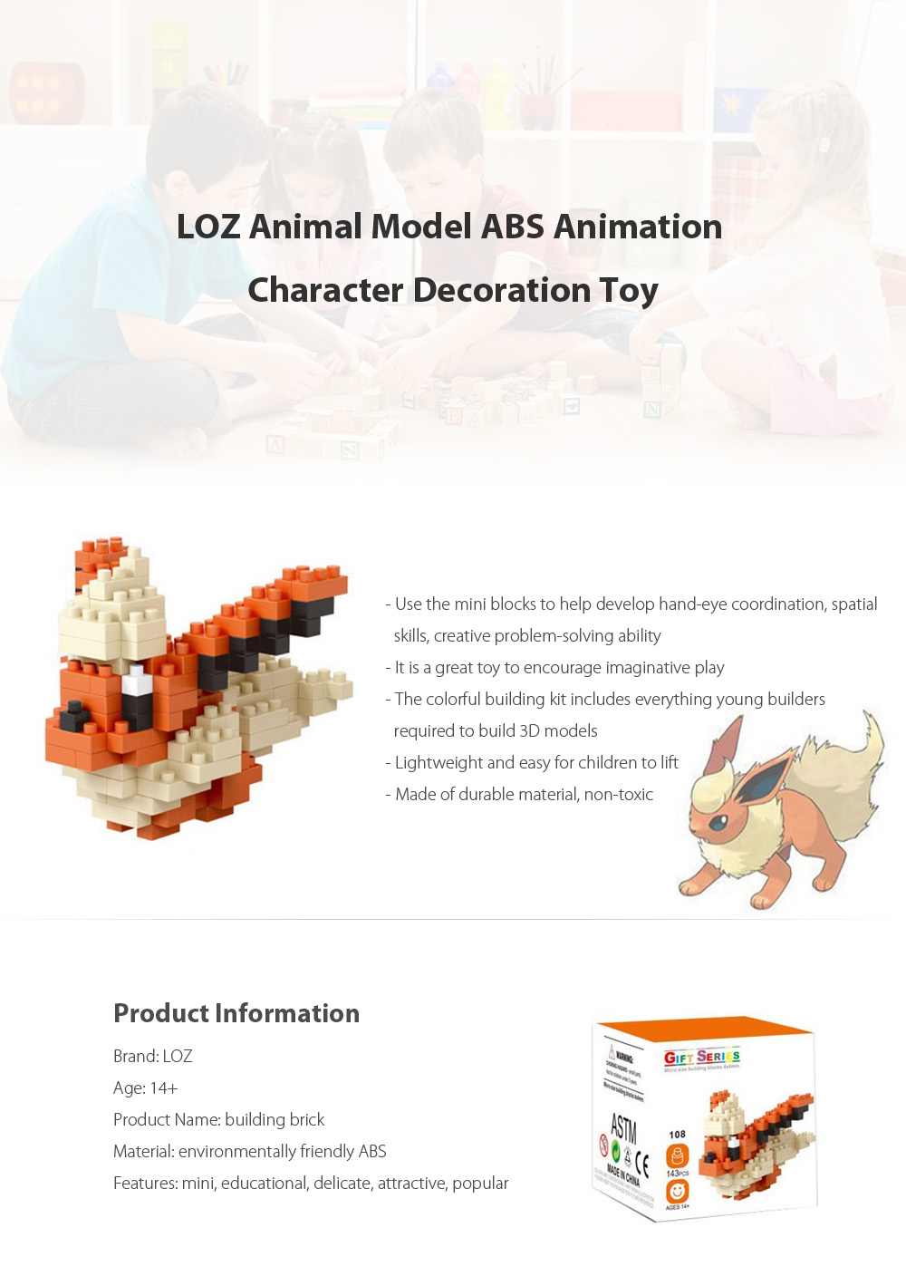 143pcs LOZ Cartoon Figure Building Block ABS Educational Movie Product Kid Toy