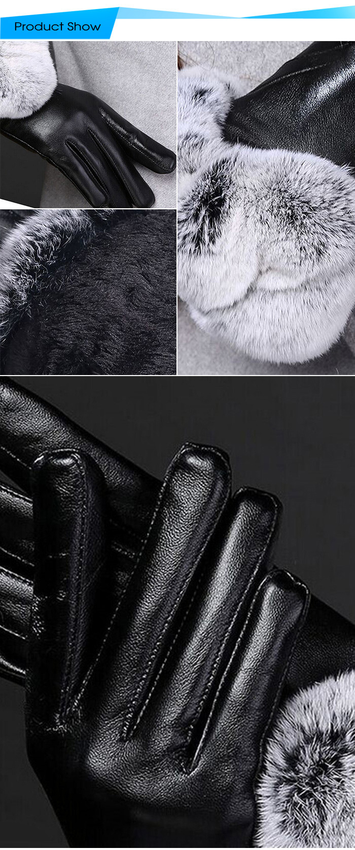 Women Touch Screen Winter Leather Coral Velvet Gloves for Cycling