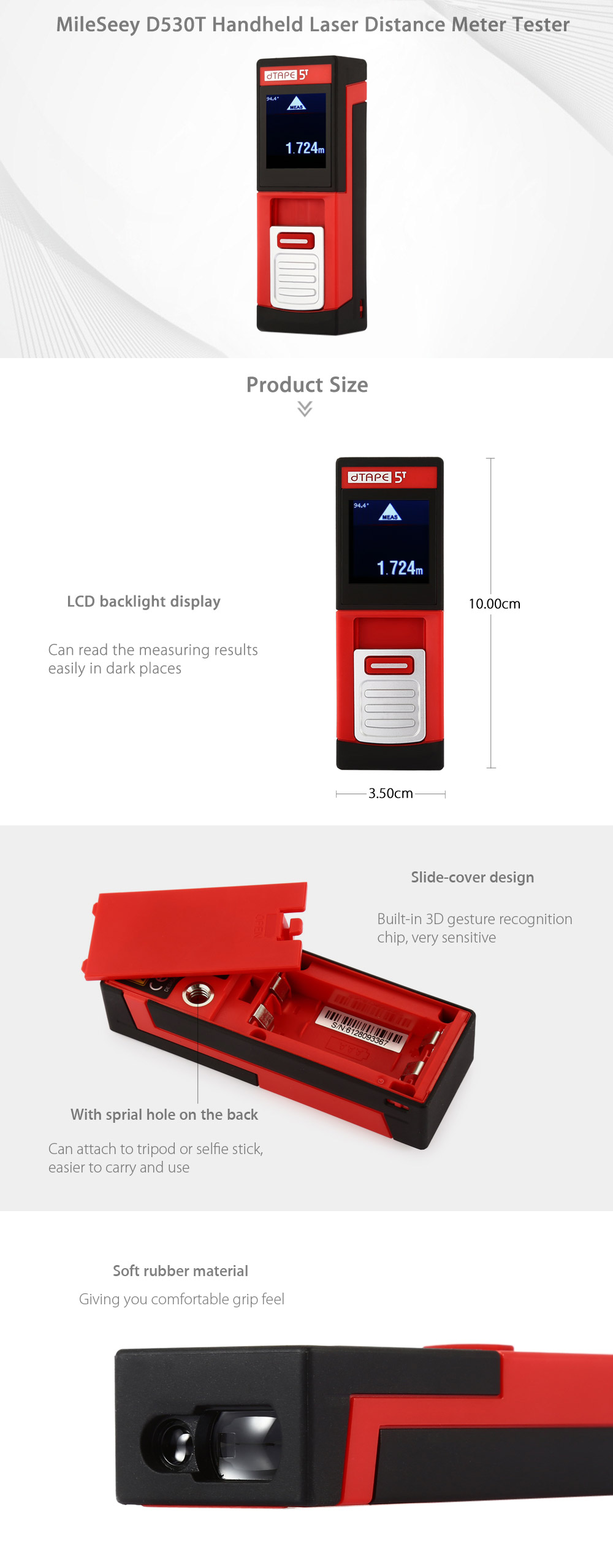 MileSeey D530T 40m Laser Manuale Distanza Tester