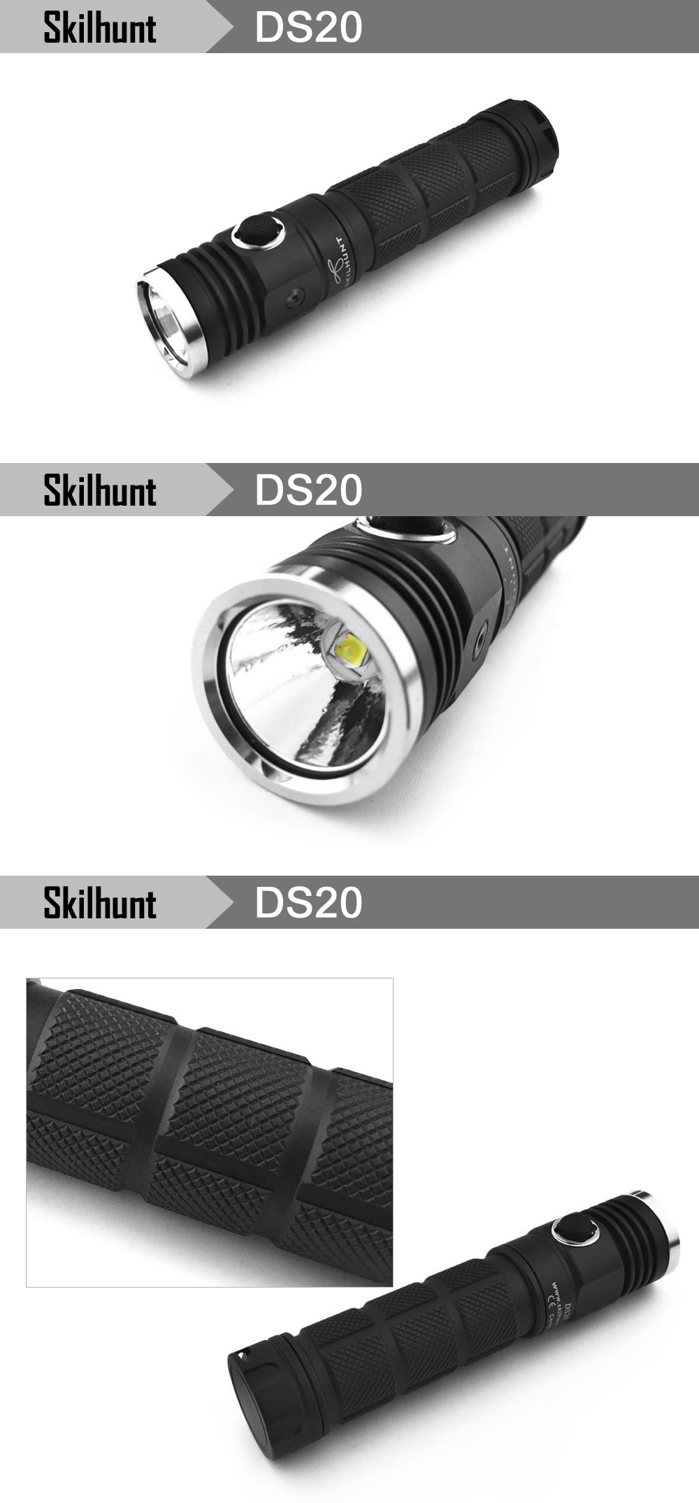 Skilhunt DS20 Cree XM L2 480LM 5 Modes Waterproof CR123A 18650 EDC LED Flashlight