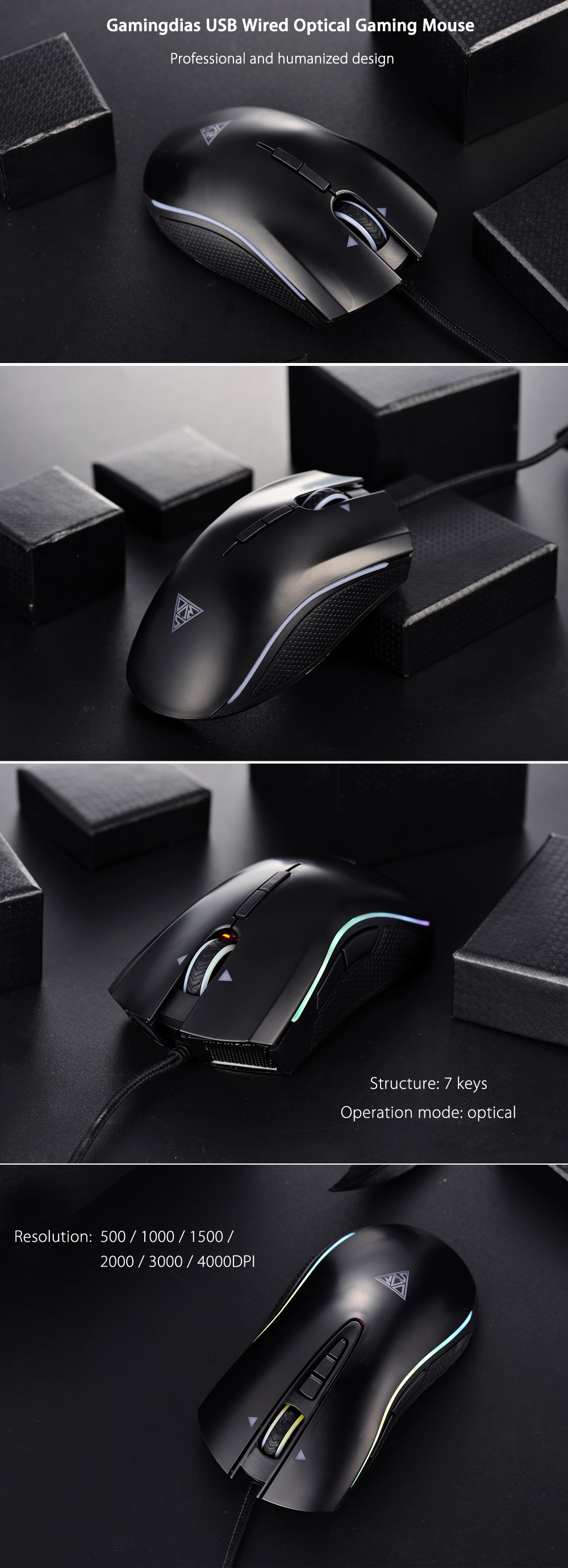 Gamingdias 7 Key USB Wired Optical Gaming Mouse with Ergonomic Design