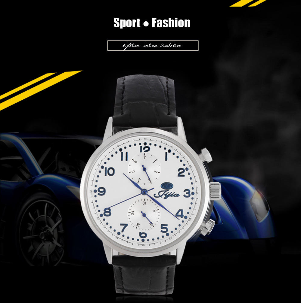 Jijia SG8018 Sports Japan Movement Male Quartz Watch with Working Sub-dial