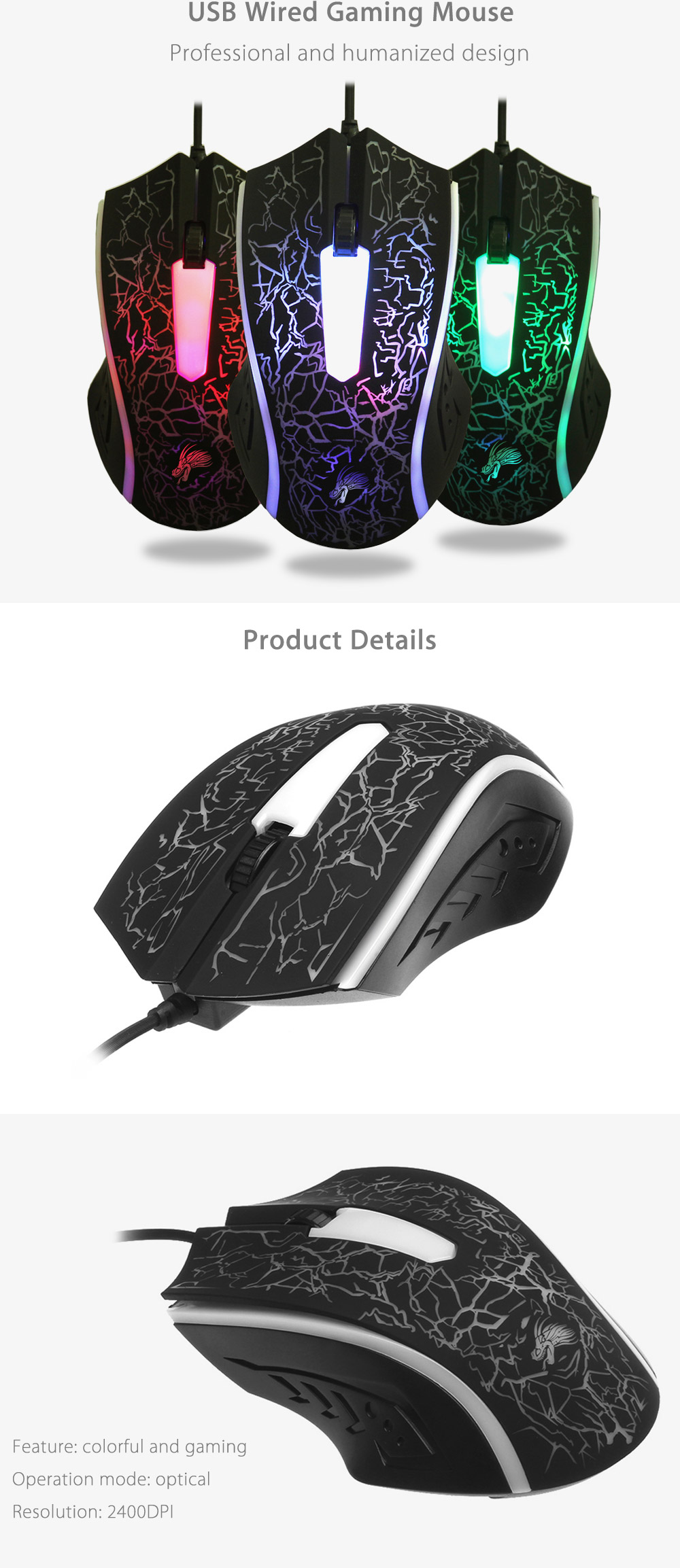 X7 USB Wired Optical Gaming Mouse Game Mice