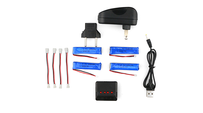 WSX / MX Battery Charging Set 4cs 3.7V 200mAh 30C LiPo + Balance Charger with US Plug Adapter / Cable for RC Drone