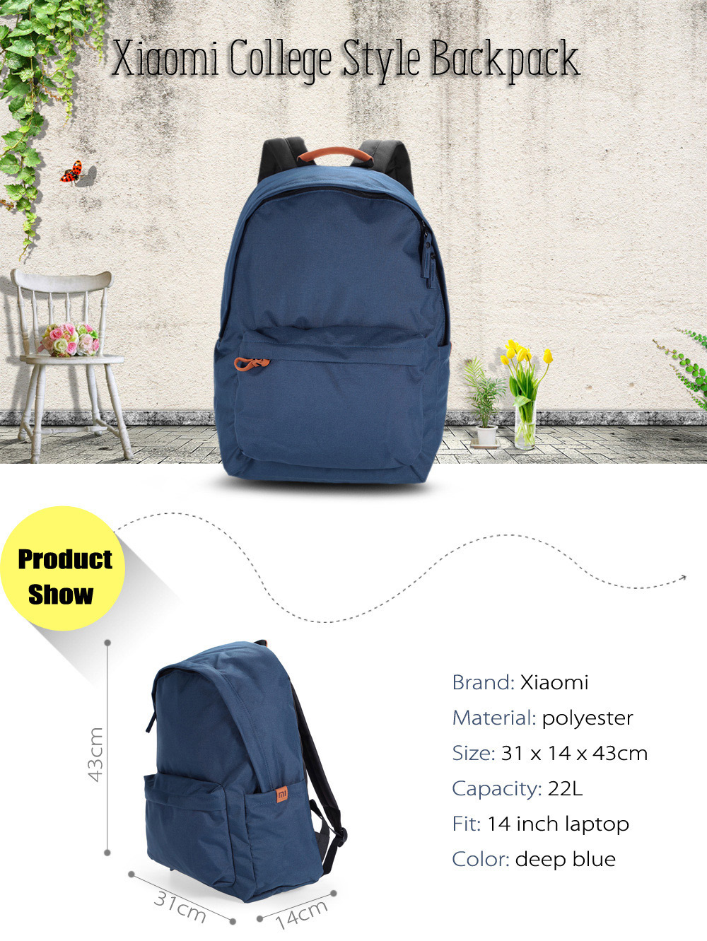 Original Xiaomi 14 inch College Style Polyester Backpack Leisure Sports Bag