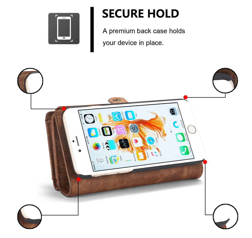 CaseMe Ancient Style PU Leather Wallet Phone Cover Case for iPhone 6 Plus / 6S Plus Mobile Protector with Card Holders