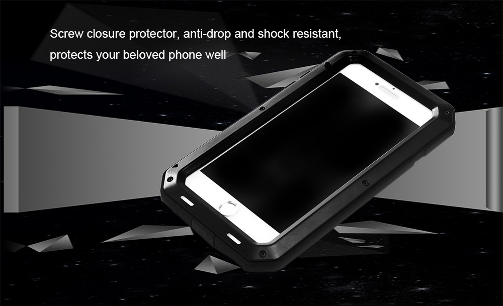 Stainless Steel Silicone Bumper Anti-drop Phone Case for iPhone 7 Screw Closure Dust-proof Shock Resistant Protector