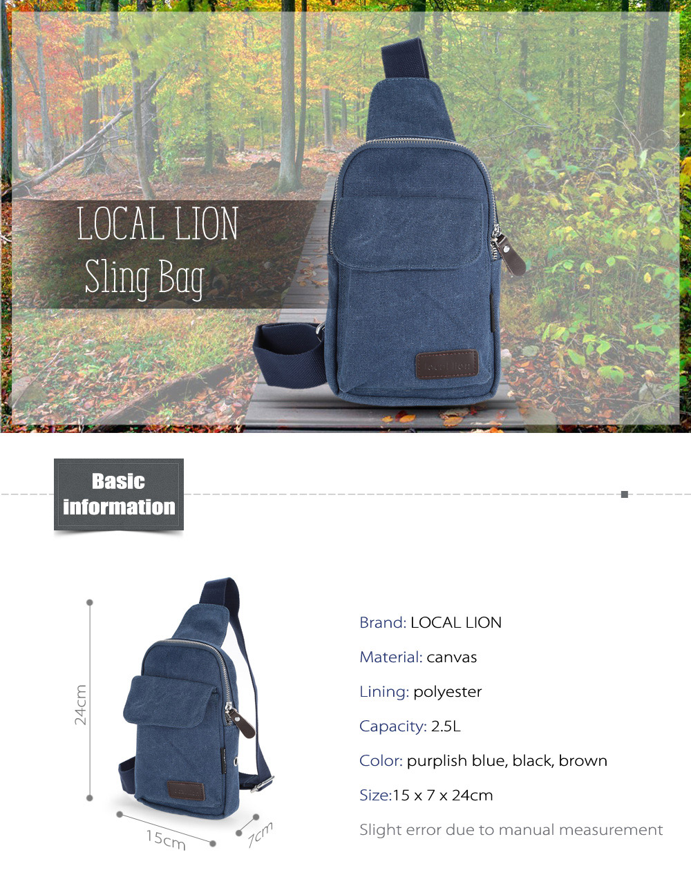 LOCAL LION 1319 2.5L Canvas Leisure Sling Bag with Polyester Lining