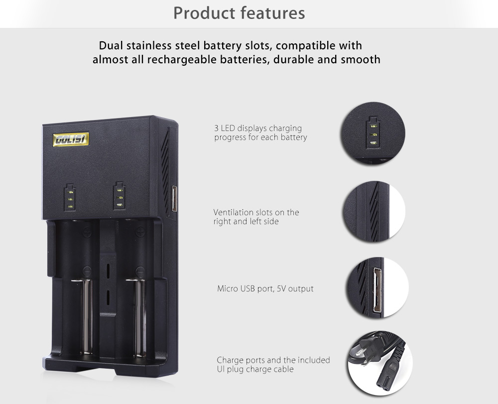 Original GOLISI G2 Intelligent Digi Charger with 2 Battery Slots / Automatic Identify Function / Three Charging Mode / Multiple Charging Protection for Most Batteries