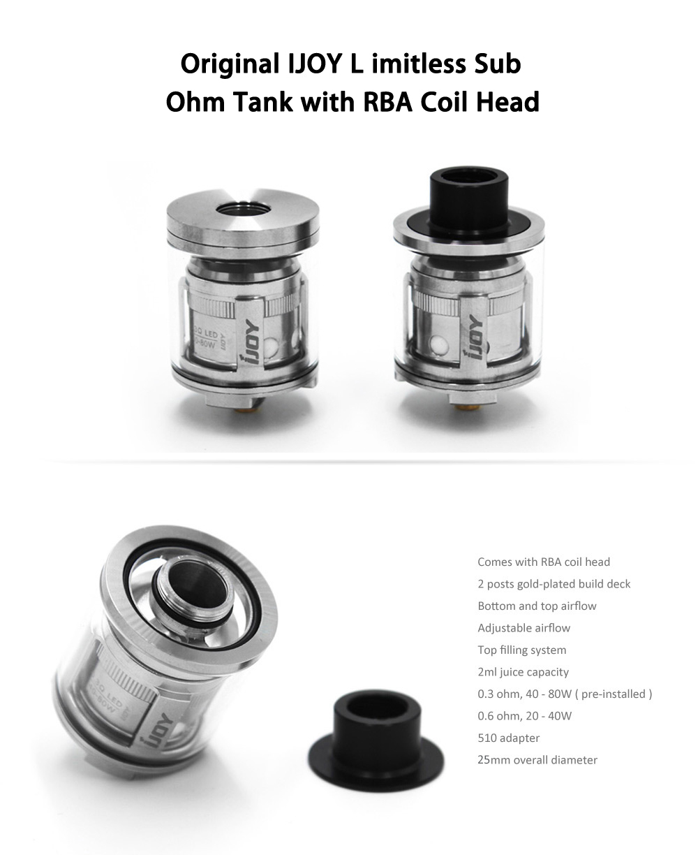 Original Ijoy Limitless Sub Ohm Tank Clearomizer with RBA Coil Head / 25mm Diameter / 2ml / 0.6 ohm / Top Filling System / Light-up Chip Coil for E Cigarette