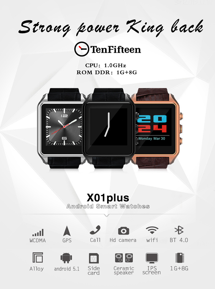 TenFifteen X01 Plus 1.54 inch Android 5.1 3G Smartwatch Phone MTK6572 Dual Core 1GB RAM 8GB ROM Bluetooth 4.0 GPS Pedometer Waterproof