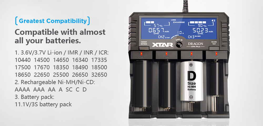 Xtar DRAGON VP4 Plus Smart LCD Battery Charger for 11.1V / 3S / Li-ion / Ni-HM / NiCd