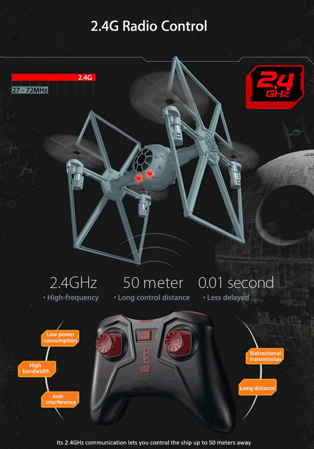 Fighter Style 2.4GHz 4CH 6 Axis Gyro Remote Control Quadcopter Toy