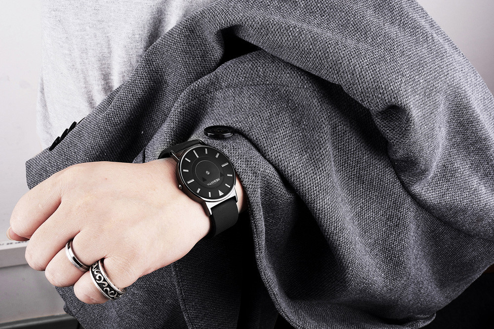REBIRTH RE035 No Pointers Unisex Quartz Watch with Nailed Scale