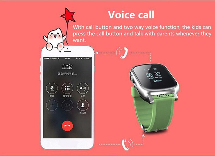 T58 Children Smartwatch Phone 0.96 inch MTK6261 SOS Call GPS Bluetooth