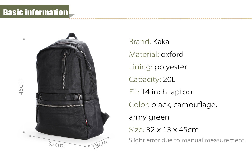 Kaka 2188 Oxford 20L Leisure Backpack 14 inch Laptop Bag with Polyester Lining