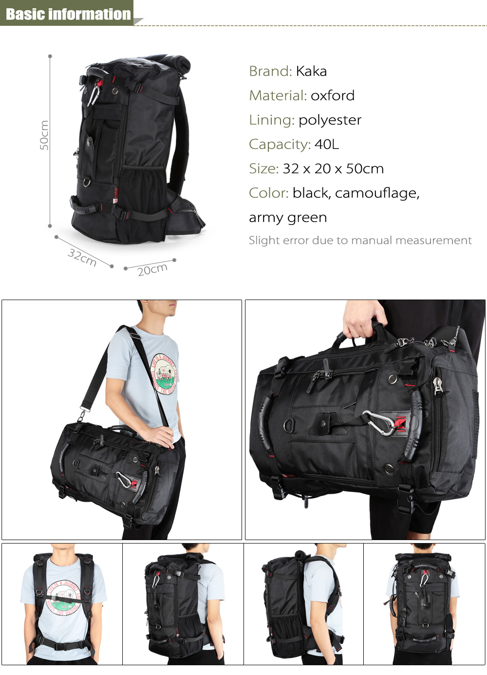 Kaka 2070 Water-resistant 40L Mountaineering Backpack with Polyester Lining