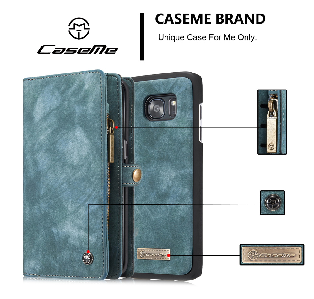 CaseMe Ancient Style PU Leather Wallet Phone Cover Case for Samsung Galaxy S7 Edge Mobile Protector with Card Holders