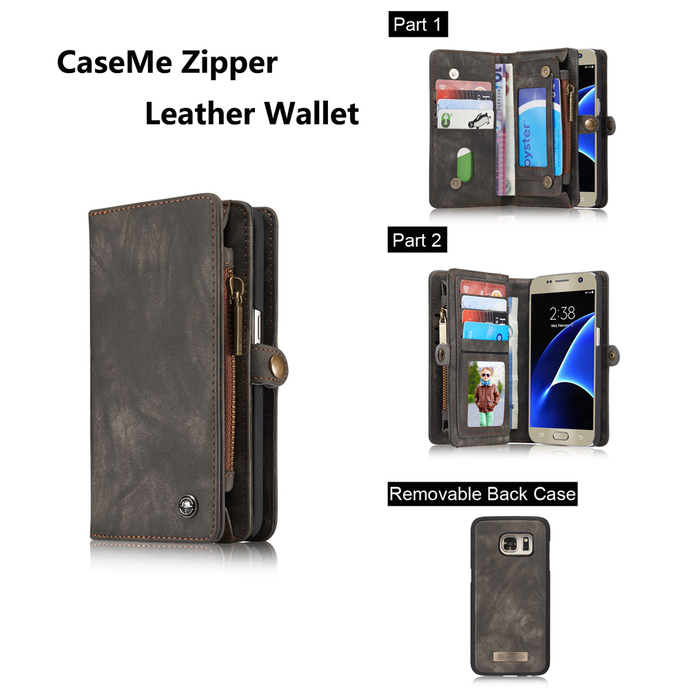 CaseMe Ancient Style PU Leather Wallet Phone Cover Case for Samsung Galaxy S7 Mobile Protector with Card Holders