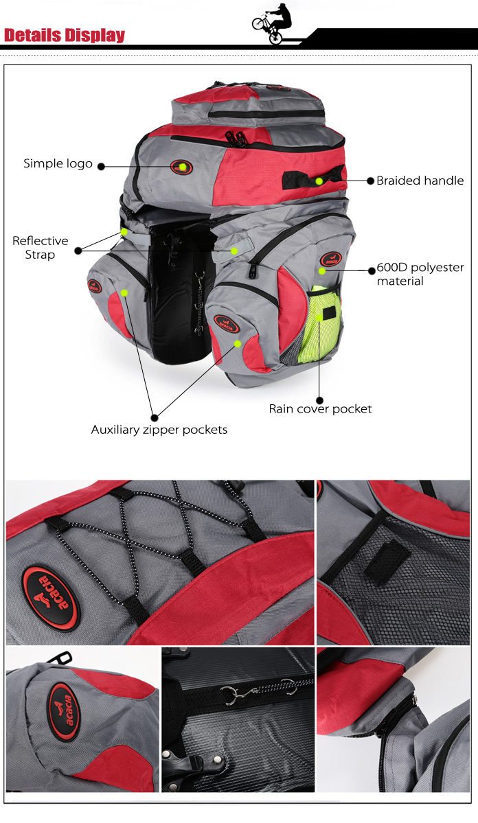 Acacia 68972 60L Multifunctional Three-in-one Bicycle Pannier Bag Mountain Bike Cycling Rear Rack Pack