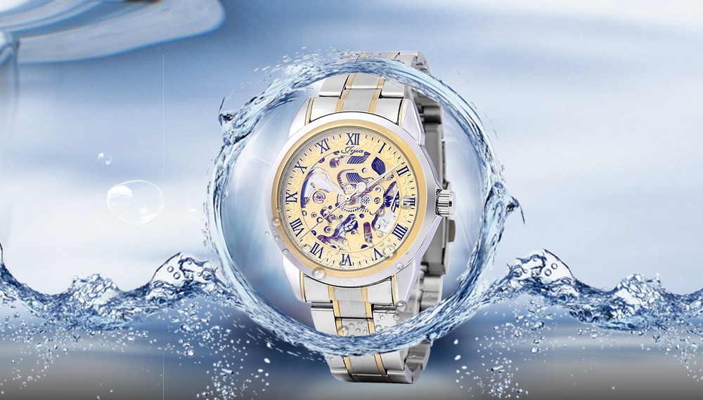 Jijia G8132 Business Male Hollow-out Dial Automatic Mechanical Watch with Transparent Back Cover