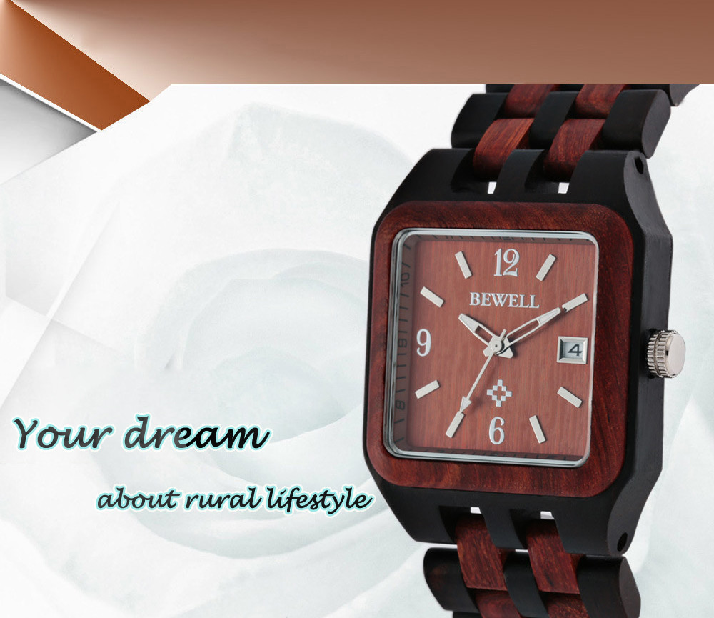 BEWELL ZS - W111A Fashion Wooden Male Quartz Watch with Japan Movement Luminous Pointers