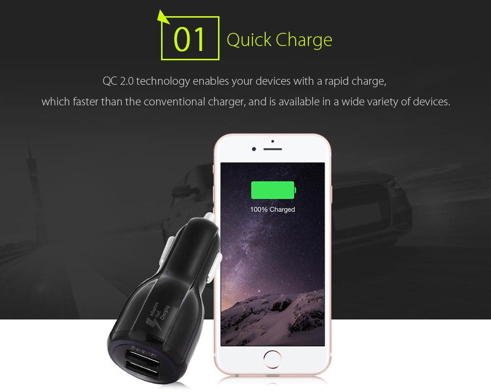 LZ - 348 Car Charger with Two USB Ports QC 2.0 DC 9V / 12V 1.8A DC 5V 5A