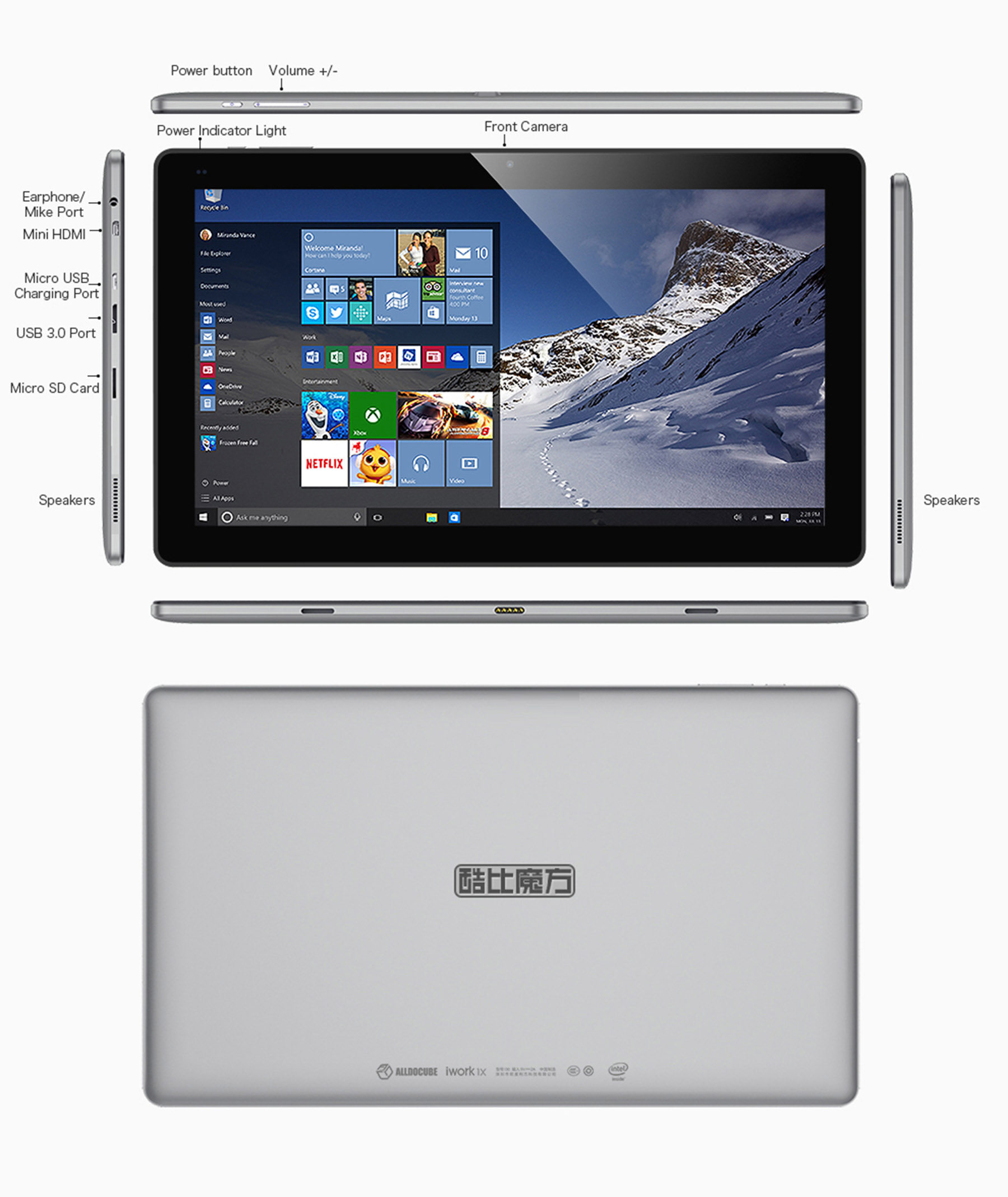 Cube iwork1x 2 in 1 Tablet PC 11.6 inch Windows 10 IPS Screen Intel Atom X5-Z8350 64bit Quad Core 1.44GHz 4GB RAM 64GB ROM Camera Bluetooth 4.0