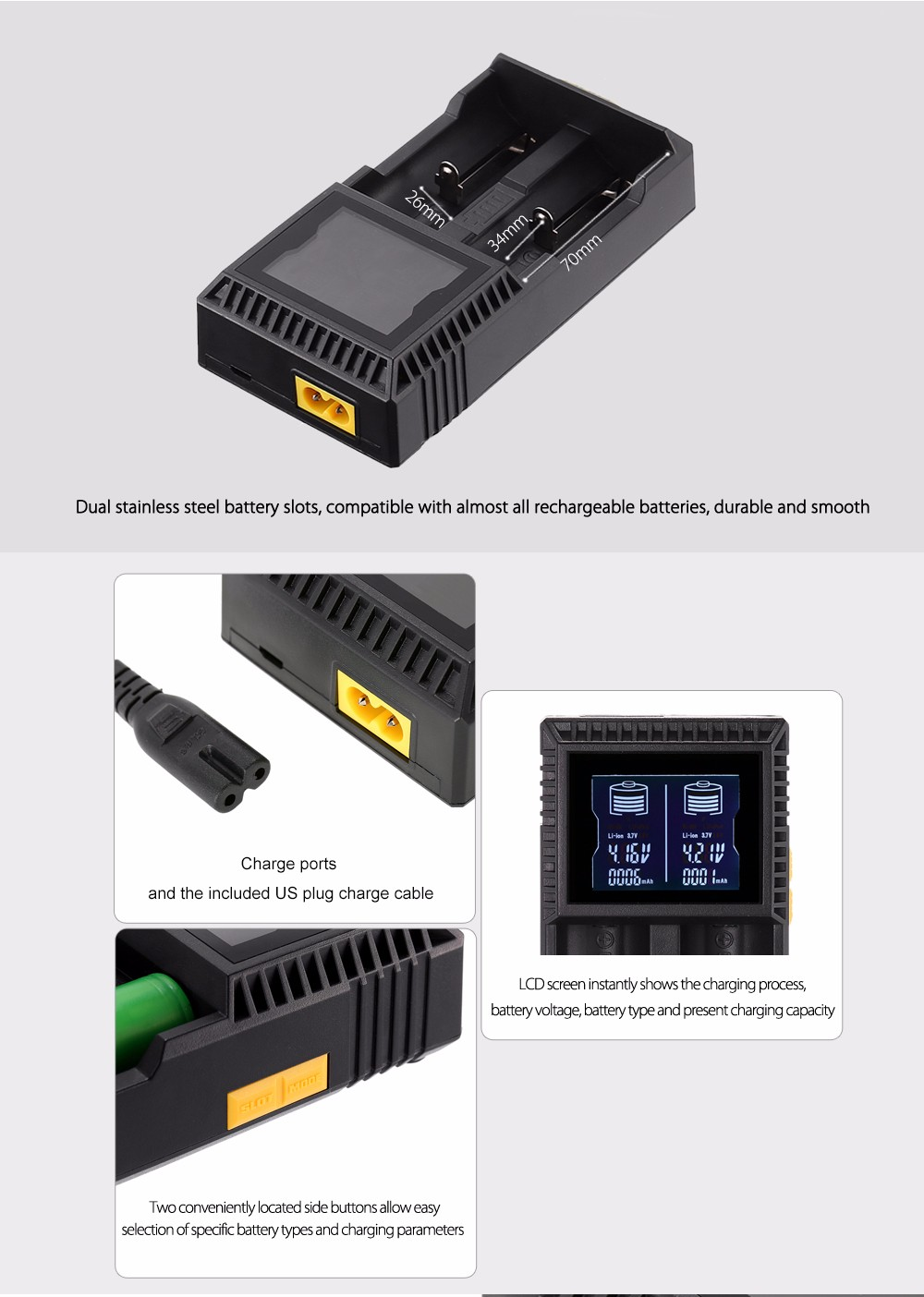 Original GOLISI L2 Intelligent Digi Charger with 2 Battery Slots / Automatic Identify Function / Three Charging Mode / LCD Screen Display for Most Batteries
