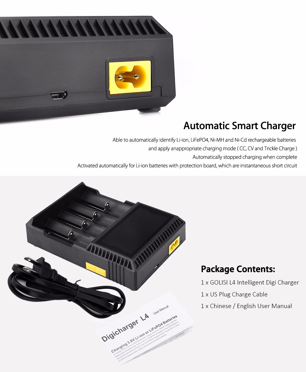 Original GOLISI L4 Intelligent Digi Charger with 4 Battery Slots / Automatic Identify Function / Three Charging Mode / LCD Screen Display for Most Batteries