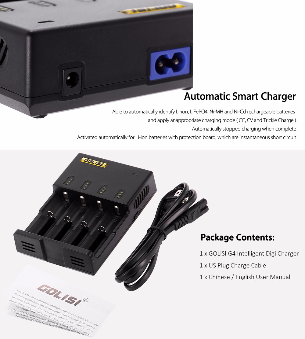 Original GOLISI G4 Intelligent Digi Charger with 4 Battery Slots / Automatic Identify Function / Three Charging Mode / Multiple Charging Protection for Most Batteries