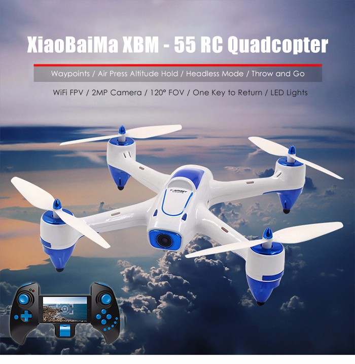 XiaoBaiMa XBM - 55 RC Drone WiFi FPV 2MP Camera 2.4GHz 4CH 6-axis Gyro Waypoints Air Press Altitude Hold