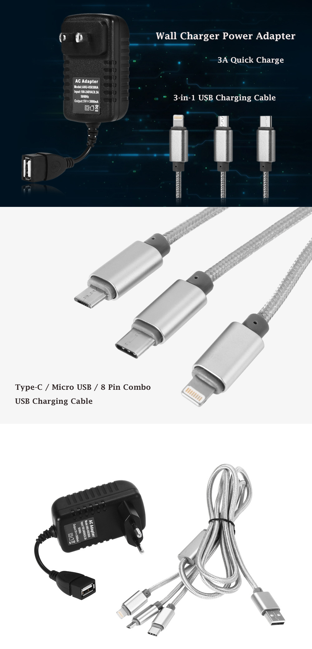3A Quick Charge Wall Charger Power Adapter with 3-in-1 USB Charging Cable Micro USB 8 Pin Type-C Interface