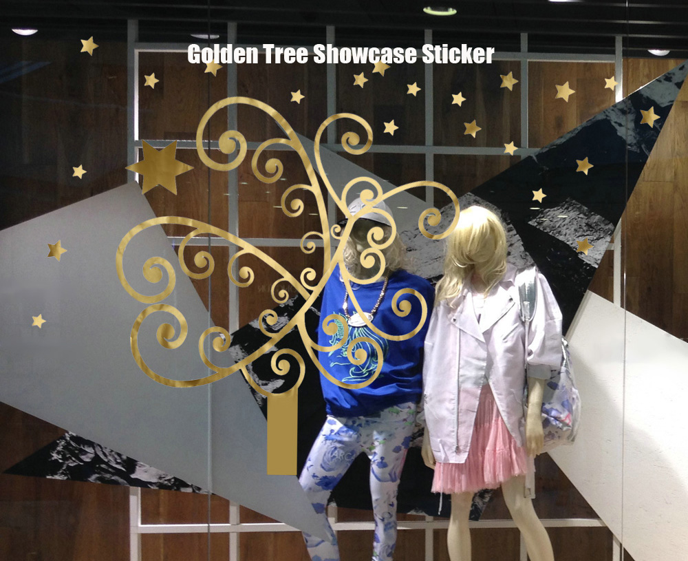Christmas Golden Tree Removable Showcase Sticker