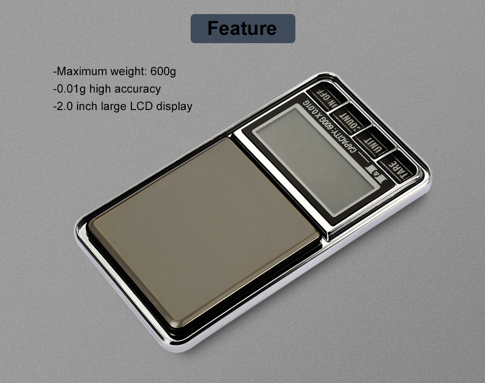 DS - 29 Portable 600g LCD Digital Jewelry Scale with 0.01g High Accuracy