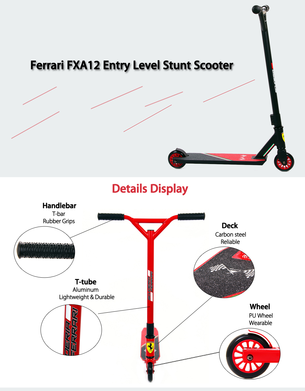 Ferrari FXA12 2-Wheel Entry Level Stunt Scooter
