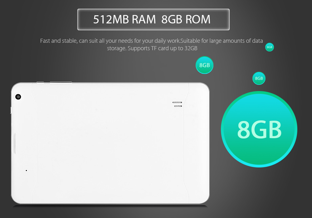 905 Tablet PC 9.0 inch Android 4.4 Allwinner A33 Quad Core 1.3GHz 512MB RAM 8GB ROM Dual Cameras WiFi