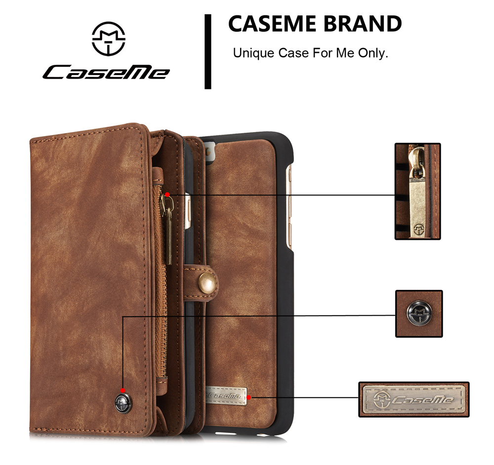 CaseMe Ancient Style PU Leather Wallet Phone Cover Case for iPhone 6 / 6S Mobile Protector with Card Holders