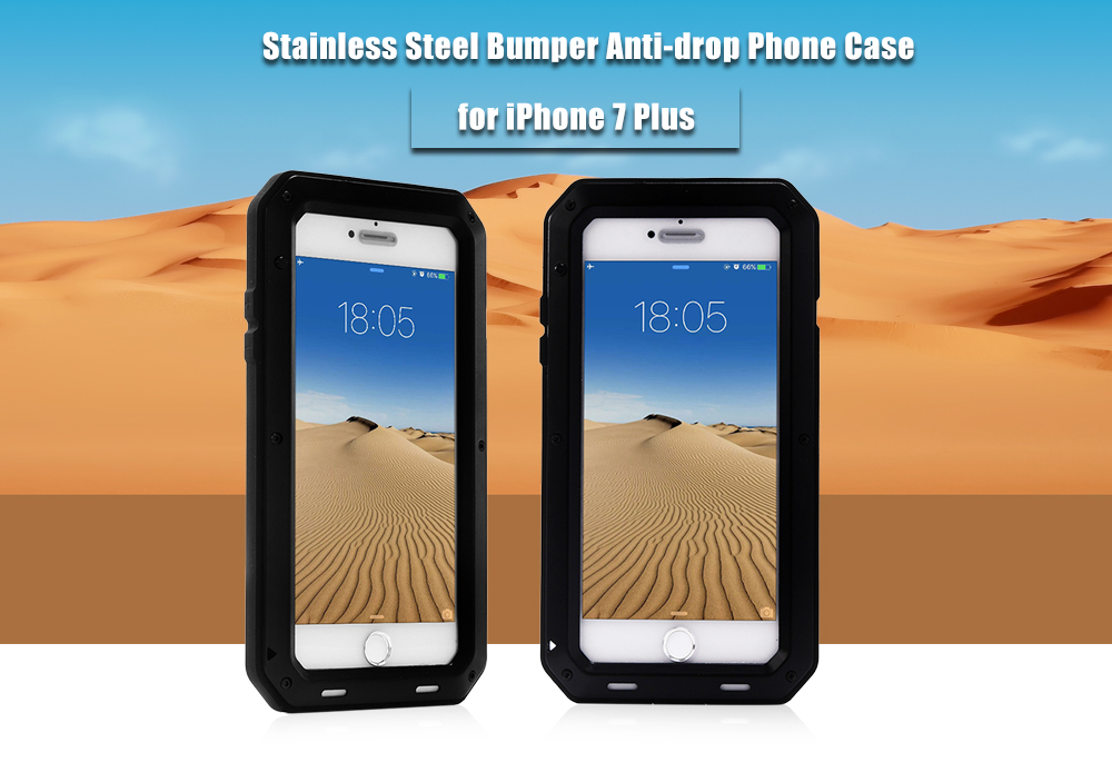 Stainless Steel Silicone Bumper Anti-drop Phone Case for iPhone 7 Plus Screw Closure Dust-proof Shock Resistant Protector