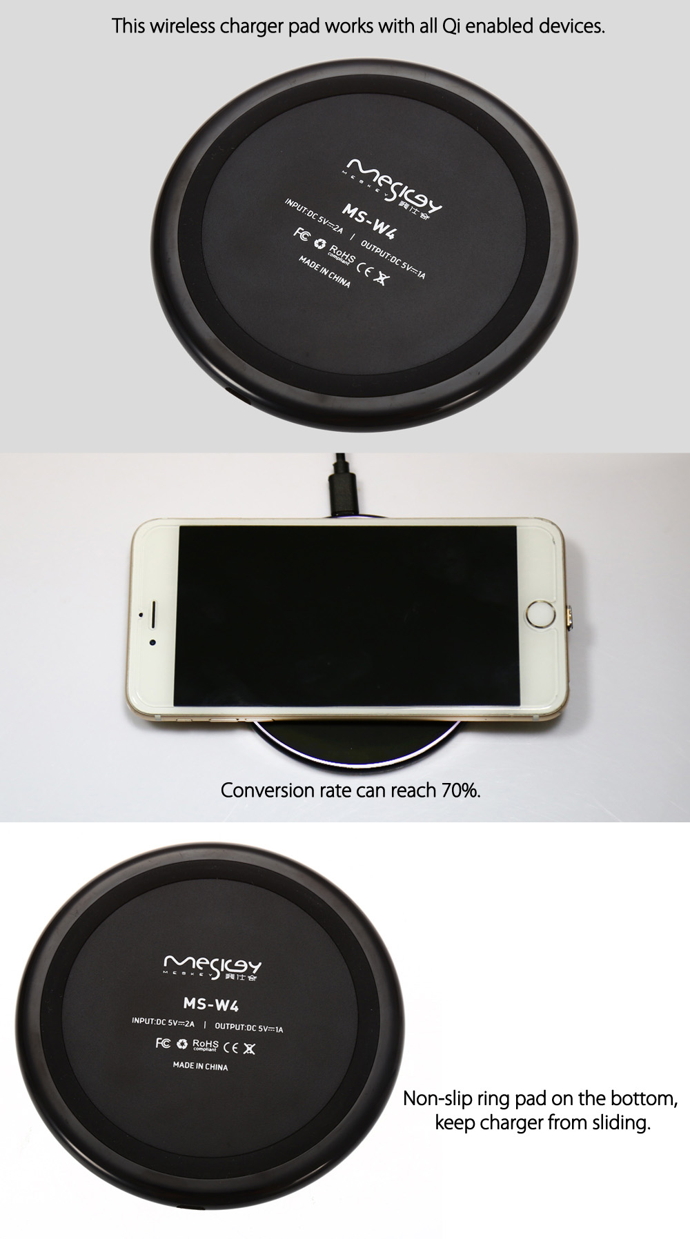 MESKEY MS - W4 Qi Wireless Charger Transmitter Pad Ultra-thin Anti-slip Round Launcher
