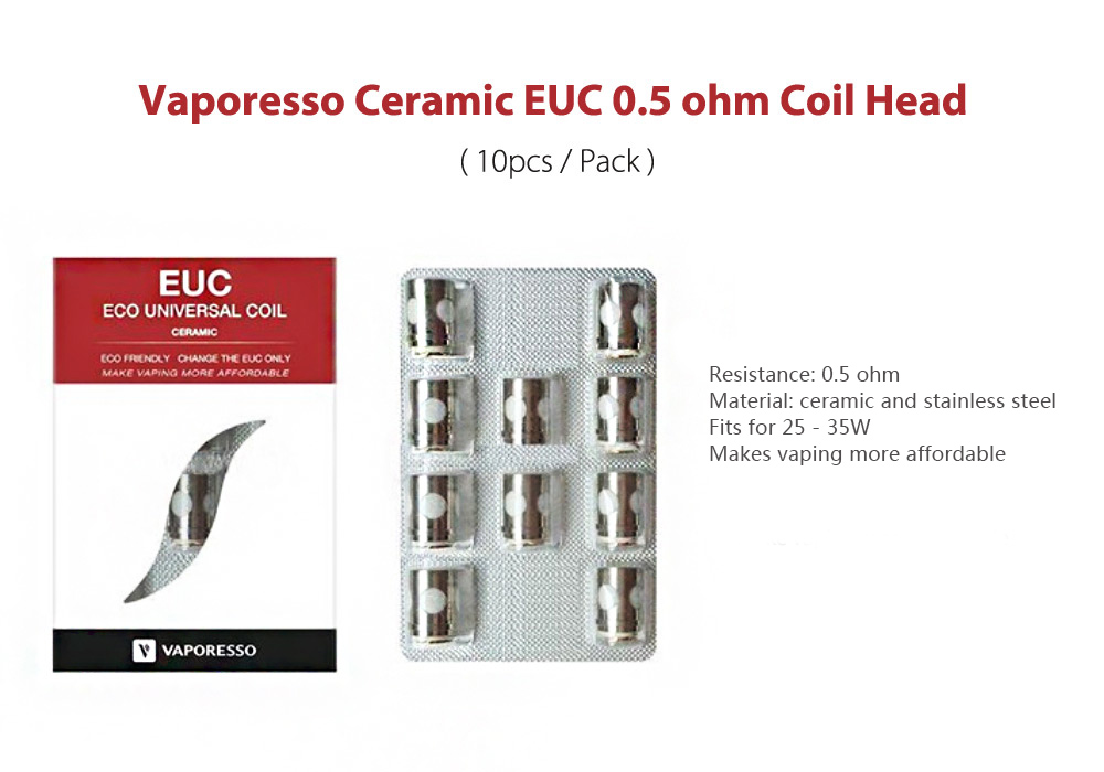 Original VAPORESSO Ceramic EUC 0.5 ohm Coil Head for E Cigarette ( 10pcs / Pack )