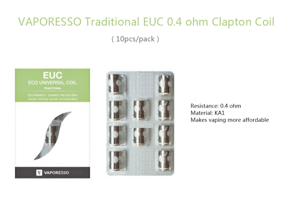 Original VAPORESSO Traditional EUC 0.4 ohm Clapton Coil ( 10pcs/pack )