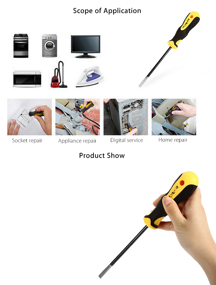 ELECALL 0826 Flat Head Screwdriver Repair Hand Tool for Home Industry