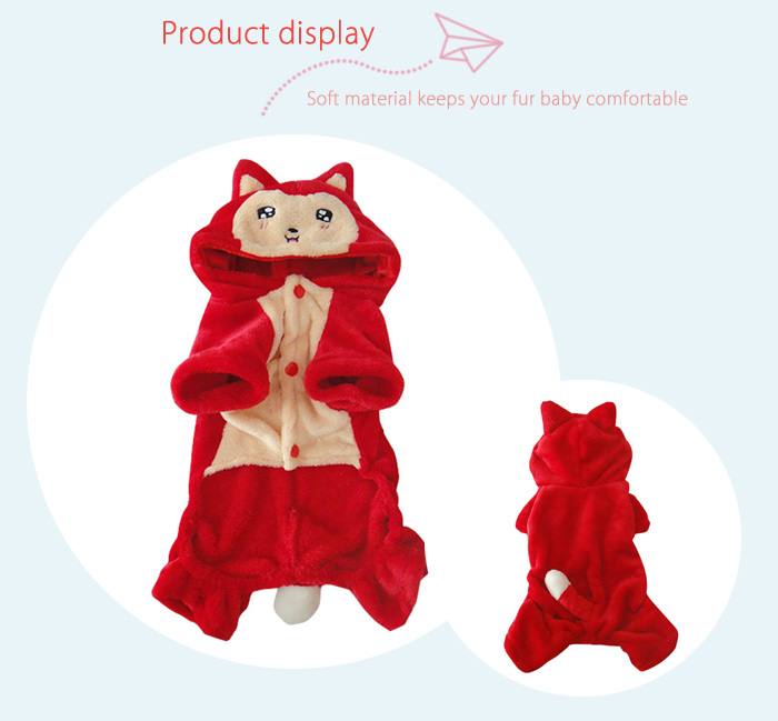 Cute Fox Cartoon Pet Dog Clothes Novel Puppy Cosplay Costume