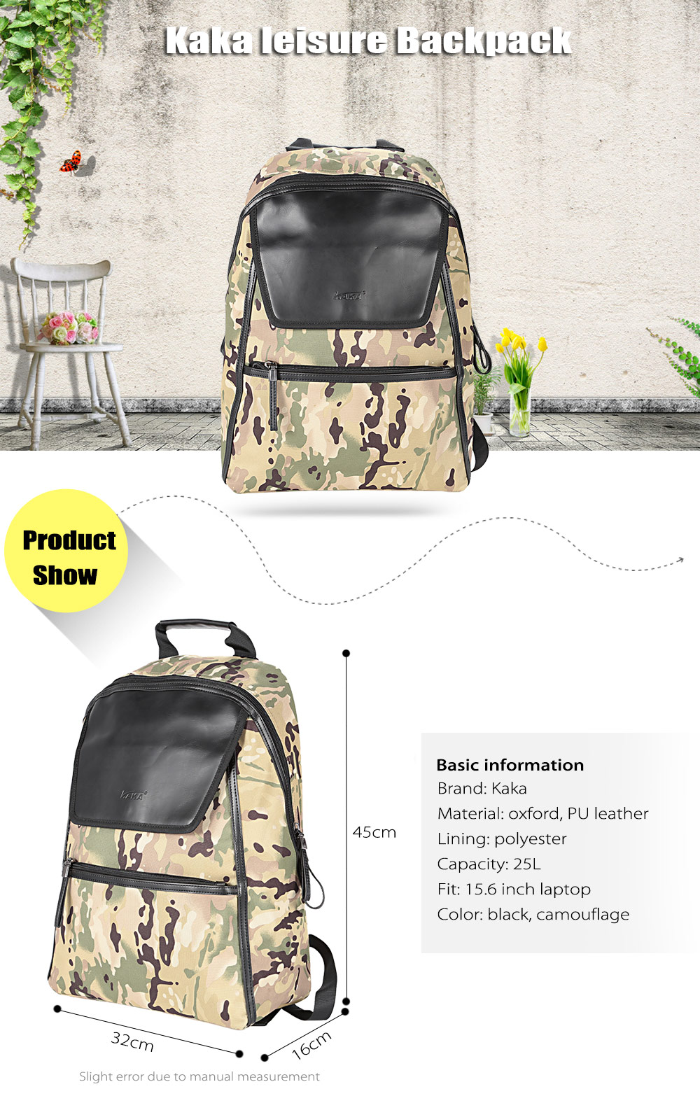 Kaka 2191 PU Leather 25L Leisure Backpack 15.6 inch Laptop Bag