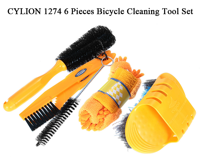 CYLION 1274 Bicycle Cleaning Tool Set 6 Pieces Cycling Bike Tyre Gear Brake Chain Crank Brush Cleaner Glove