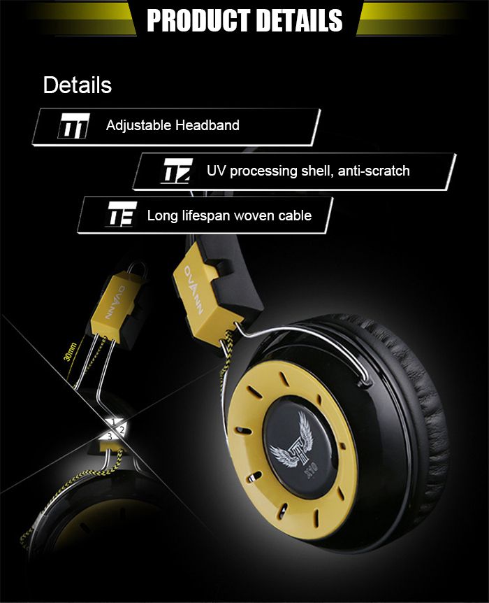 OVANN X10 Professional Gaming Headsets On-cord Control Comfortable Wearing